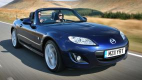 2011 Mazda MX-5 Running Fast In Blue